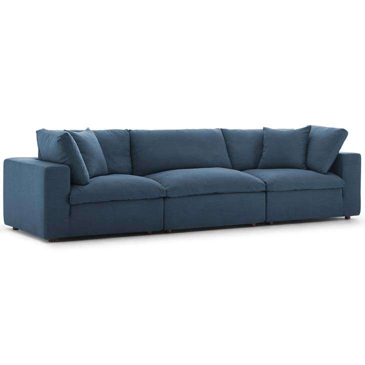 COMMIX DOWN FILLED OVERSTUFFED 3 PIECE SECTIONAL SOFA SET (5 COLOR OPTIONS  + FREE DELIVERY NATIONWIDE)